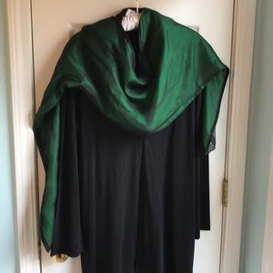 Gorgeous Black Chiffon and Green Silk Scarf